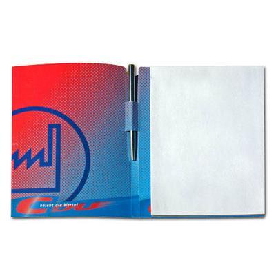 Blau-Rote Mappe mit Stifthalter und Block