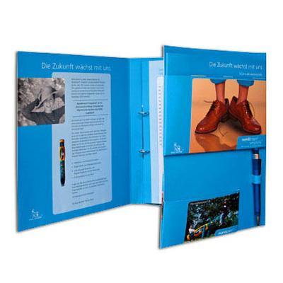 Blaue 6-Seiten Mappe mit Mechanik und Stifthalter