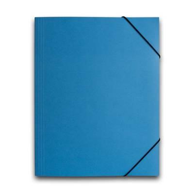 Blaue Mappe mit schwarzen Eckspannern