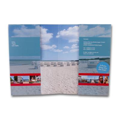 Mappe offen mit Strandmotiv und Einschüben links und rechts
