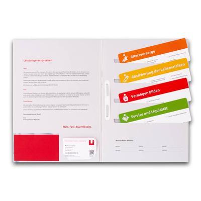 Sparkassen Mappe mit Einsteckkarten rechts und Visitenkarte