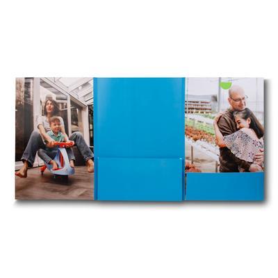 Blaue 6 Seitenmappe Innen mit Bildmotiv Familie