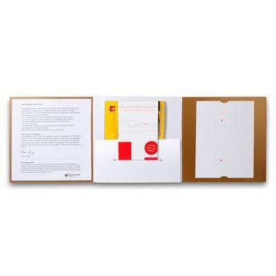Goldene Mappe innen mit Steckkarten