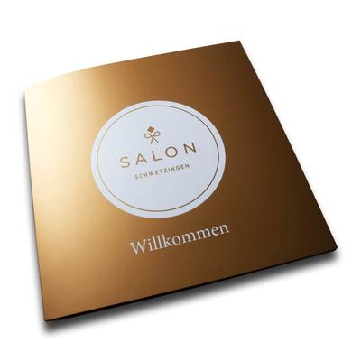 Goldene Willkommensmappe Salon Schwetzingen