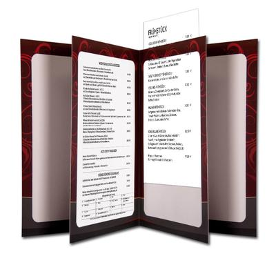 Aufgeblätterte Speisekarte mit Passepartout