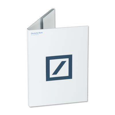 Deutsche Bank Mappe weiß mit blauen Logo
