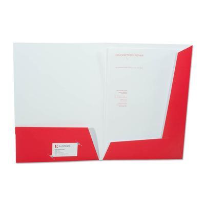 Weiße Mappe mit roten Laschen und Tasche