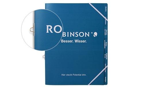 Blaue Registermappe Robinson mit Gummizug über Eck